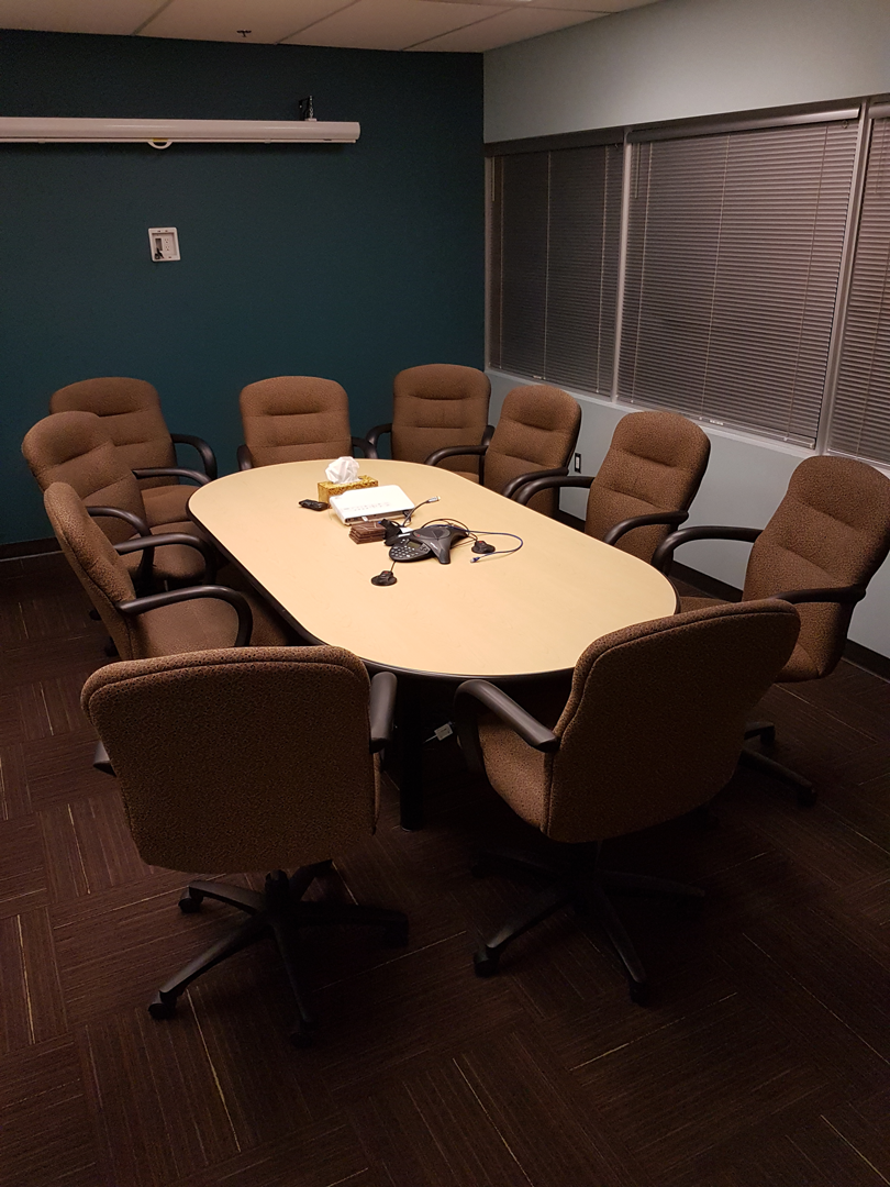 Maple Meeting Room table 4' x 8' with 10 upholstered chairs